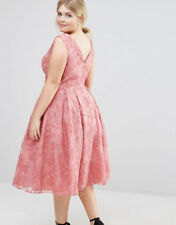 Chi Chi london plus SIZE 20 lace midi dress pink party asos perfect condition