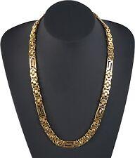 Lujo Collar para los hombres Mujer Acero Cadena Cadena Cuello 002-Gold NUEVO