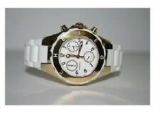 MICHELE TAHITIAN JELLY BEAN WHITE SILICONE+GOLD CHRONO DIAL WATCH-MWW12D000011