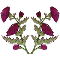 Pair of Magenta Pink Thistle Flower Patches Iron Sew On Shirt Bag Flowers Patch