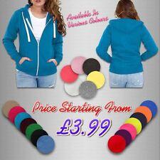 Girls Womens Plain Malaika Hoodie Hoody Hooded Zip Sweatshirt Zipper Top UK 8-28