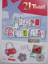 LARGE FANTASTIC COLOURFUL I LOVE HANDBAGS 21 TODAY 21ST BIRTHDAY GREETING CARD
