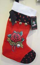 "Pets Rock Paisley Red Jingle Bell Xmas DOGGIE Scull 17"" Xmas Plush Stocking New"