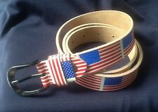 100% LEATHER BELT USA UNITED STATES OF AMERICA AMERICAN FLAG HEAVY DUTY UNISEX