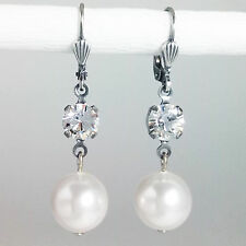 Grevenkämper Ohrringe Swarovski Kristall Rund Perle klar weiß Crystal White