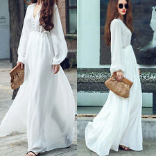 Women's Boho Long Sleeve Maxi Casual Evening Party White Dresses Beach Sundress