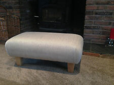 Footstool in Laura Ashley upholstery fabric Edwin natural herringbone