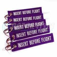 INSERT BEFORE FLIGHT KEYCHAIN PURPLE/white QTY = 5 PCS RING TAGS