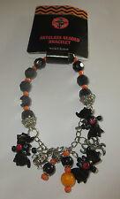 "Bats Artglass Beaded Bracelet Stretchy Halloween Black Orange New 8"""