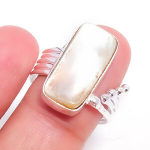 Mother Of Pearl Gemstone Handmade 925 Sterling Silver Jewelry Ring Size 7 4509
