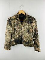 Kamiko Women's Full Zip Long Sleeve Faux Fur Styling Jacket Size 12 Petite Brown