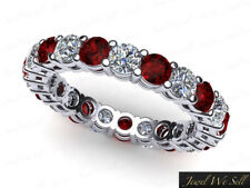 Genuine 1.50Ct Round Ruby Diamond Gallery Eternity Band Ring 10k Gold AAA H SI2