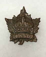 Antique Wwi Original Canadian Badge Hat Pin Crown Maple Leaf Military Army