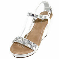 New women/'s shoes sandals open toe wedge white rhinestones casual party summer