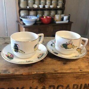 Vintage Pair Tea Cups & Saucers from Sirram Picnic Hamper – Vegetables – Retro!