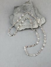 """Fancy Sterling Silver Chain Necklace Italy 24"""" Flat Forged Link 6mm 20 Gram"""