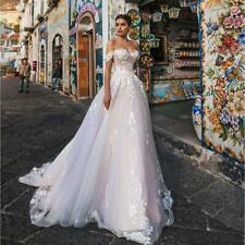 Elegant Lace Appliqued Wedding Dress Off The Shoulder A Line Train Bridal Gown