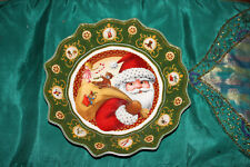 Villeroy & Boch Christmas Plate Dish Bowl-Santa Claus-Scalloped Border-Colorful