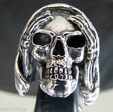 Hear No Evil Sterling Silver .925  Death Skull biker Ring RG0052/S