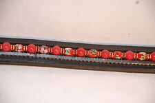 """16"""" (Full) Black Browband w/ Red Mountain Jade & Cloisonne Beads & Red Rondells"""