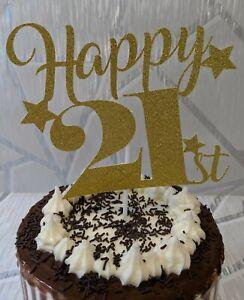 21st Birthday Glitter Card Cake Topper