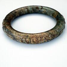 Chinese toroid form 63 mm mottled hardstone bangle bracelet Qing dynasty 19th C