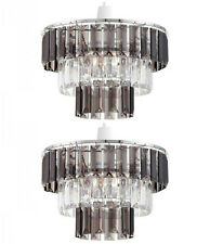 Pair of Modern Clear & Smoked Crystal Ceiling Light Shade Pendant Chandelier