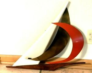 Sail Boat Enameled Metal & Wood Large Wall Hanging Sculpture Mid-century Modern