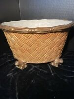 """Planter Ceramic Basket Weave Frog Feet San Marco Pottery Italy 7.5"""" Tall 13"""" W"""