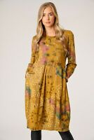 Ladies Italian Lagenlook Long Sleeve Comfy 2 Pocket Quirky Floral Tunic Dress