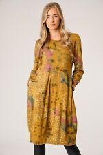 ITALIAN lagenlook BOHO leaf floral PRINT linen SHIFT tunic DRESS pockets 14-18
