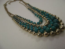 VCLM Green and Gold Tone Multi-strand Bead Necklace