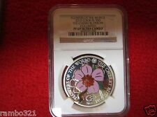 2012 Cook Island Isl Silver Cherry Blossom NGC PF69 PROOF Cloisonne w 24kt gold