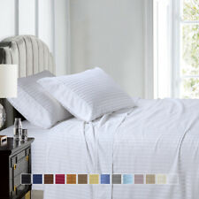 Split Queen Sheet Set 608 Thread Count 100% Cotton Damask Stripe
