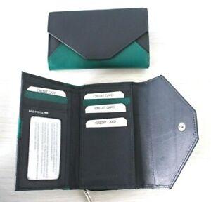 RFID Protected Golunski Navy Blue & Emerald Leather Tri-Fold Medium Purse