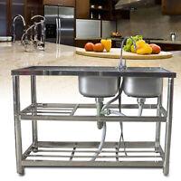 2 Compartment 2 shelves 2 drains Commercial Restaurant Kitchen Sink Utility Sink