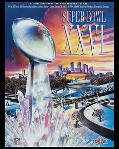 Super Bowl XXVI (1992 - Redskins vs Bills) Game Program - 8x10 Photo