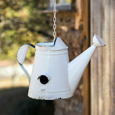 Watering Can Bird House White Enamel Garden Yard Hanging