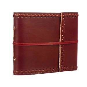 "Handmade Stitched Leather Photo Album 30 6x4"" Photos Fair Trade - 2nd Quality"