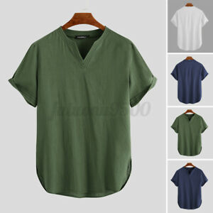 Men's Short Sleeve 100% Cotton T Shirts V Neck Yoga Beach Loose Blouse Tee Tops