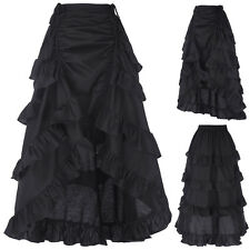 Vintage Gothic Victorian Ruffle Bustle Skirt Steam Punk Retro Gothic Dress Black