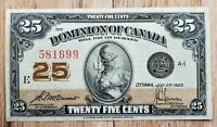 Dominion of Canada July 1923, 25 Cent Fractional Note 581690 McCavour-Saunders