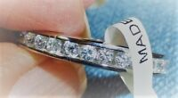 Eternity Band Ring-Sterling Silver 925-Shiny Round CZ's-3mm wide-3g-NWT-Size 8