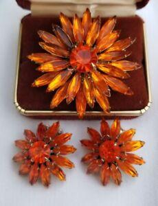 Vintage Judy Lee sparkling orange rhinestone clip earrings pendant pin brooch