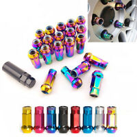 20PC M12x1.25 Neo Chrome Open Ended Steel Wheel Tuner Lug Nuts For Nissan Suzuki