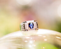 Mens Sapphire Ring with Side Diamonds Blue Stone 925 Sterling Silver Size 7-10