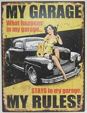 Novelty Tin Wall Sign My Garage My Rules Great Decor for Garage, Bar or Man Cave