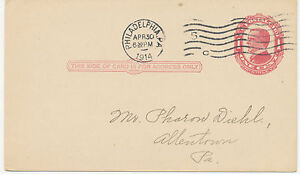 """USA 1914 One Cent McKinley stamped to order postal stationery """"PHILADELPHIA, PA"""""""
