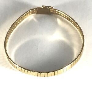 14k Omega Link 7 Inches Bracelet Solid Yellow Gold 4.5mm  9.67 grams