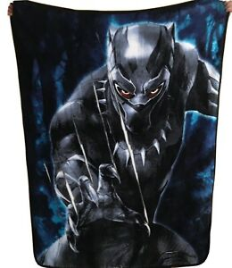 "Marvel Black Panther Black Claws Throw 38""x48"" Soft Blanket"